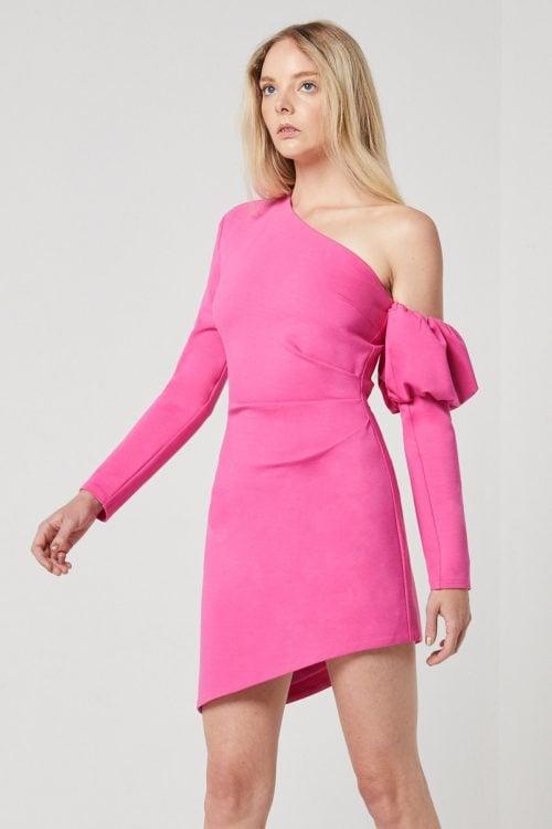 Elliatt Basin Dress Long-Sleeve, Mini, Off-Shoulder Pink