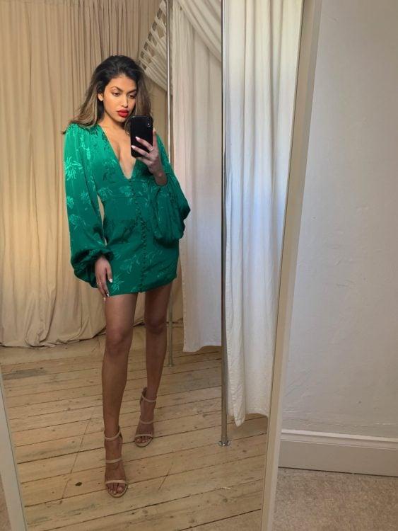 Rat & Boa Isabella Dress Long-Sleeve, Mini, V-Neck Emerald