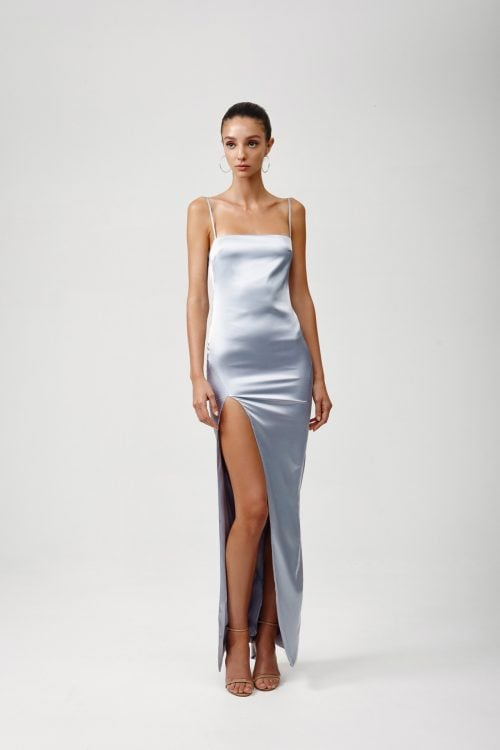 Lexi Estel Dress Backless, Floor Length, Maxi Silver