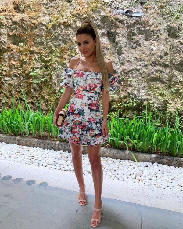 Zimmermann Allia Pintuck Dress Mini, Off-Shoulder Print