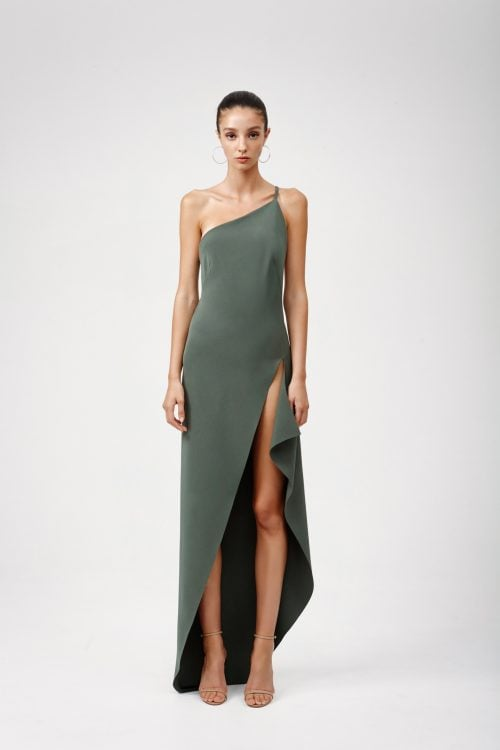 Lexi Lina Dress Backless, Floor Length, Maxi Khaki