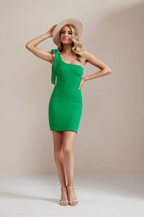 By Johnny 1-Shoulder Tie Dress Mini, Off-Shoulder Green