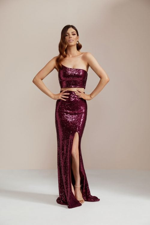 Nookie Siren Sequin Crop And Skirt Floor Length, Maxi, Two-piece Set Ruby