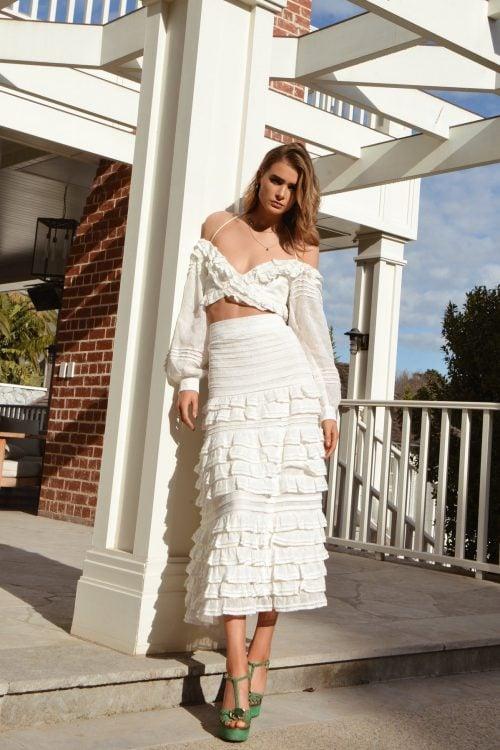 Mackenzie Mode Lavender Top + Dhalia Skirt Set Midi, Off-Shoulder, Two-piece Set Ivory