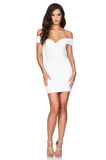 Nookie Bella Mini Dress Mini, Off-Shoulder Ivory
