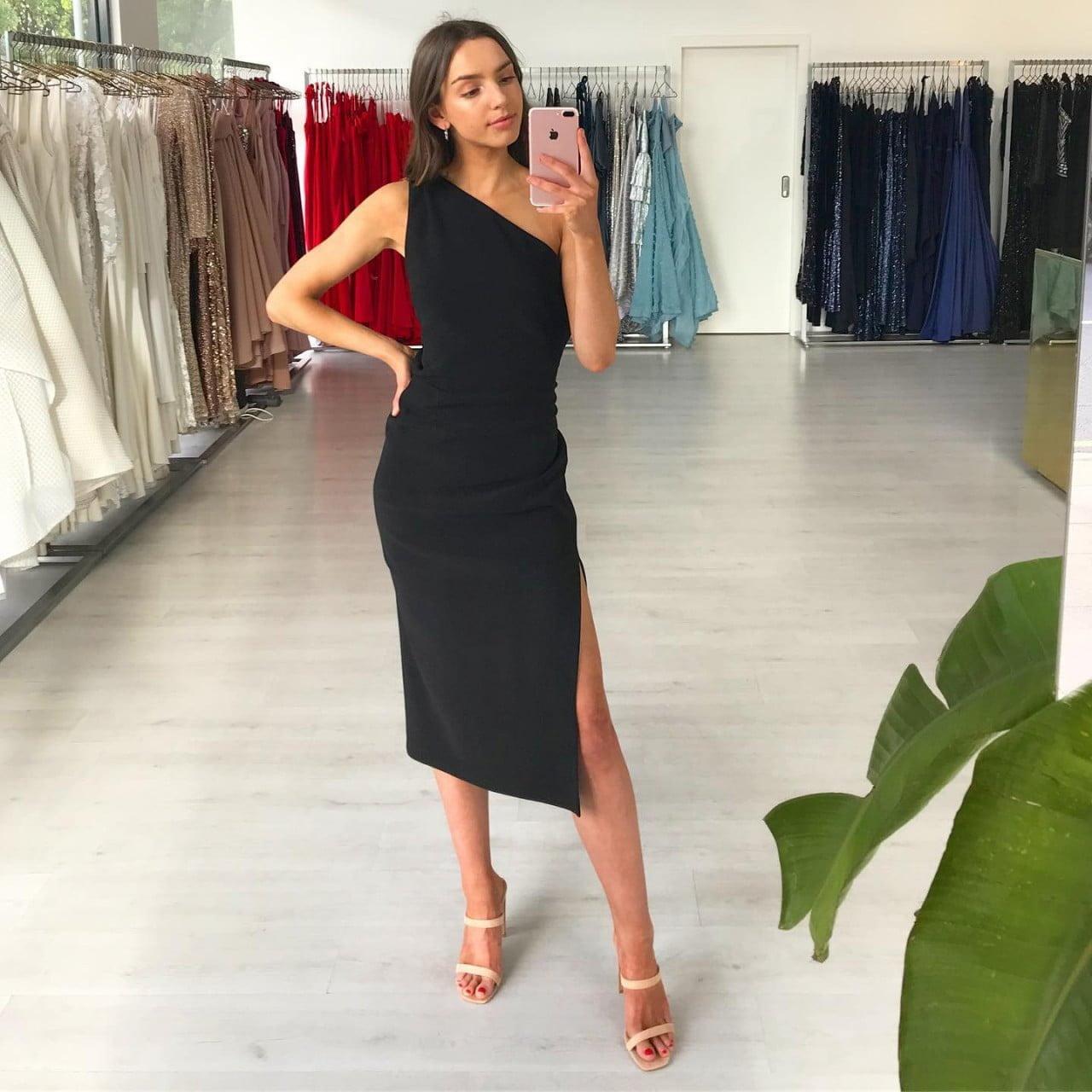 Bec & Bridge Gemma Asym Midi Dress Midi Black