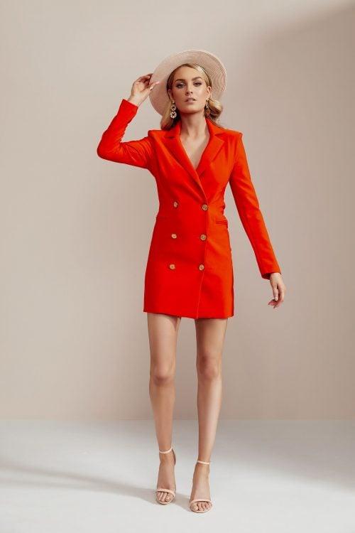 Nookie Milano Blazer Dress Long-Sleeve, Mini, V-Neck Orange