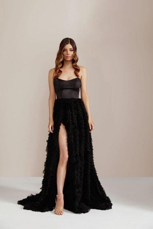 D'Lelle Lilliana Gown Floor Length, Maxi, Strapless Black