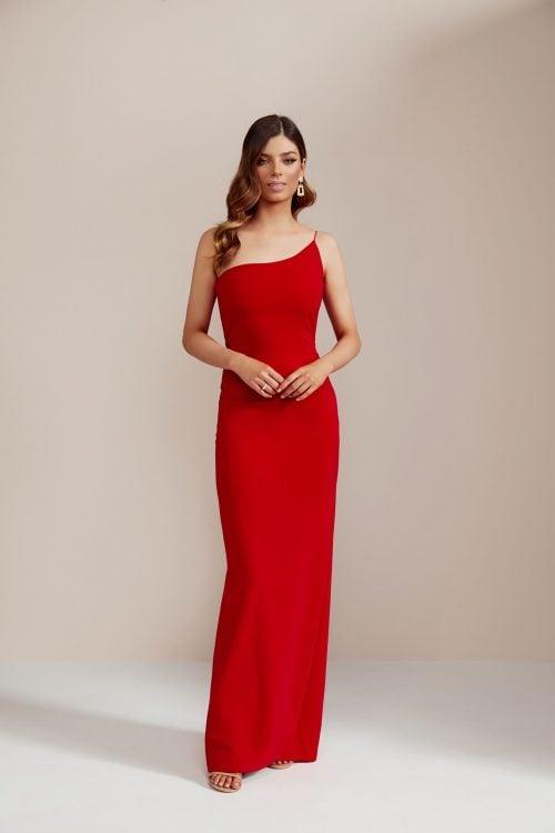 Nookie Penelope Gown Floor Length, Maxi, Off-Shoulder Red