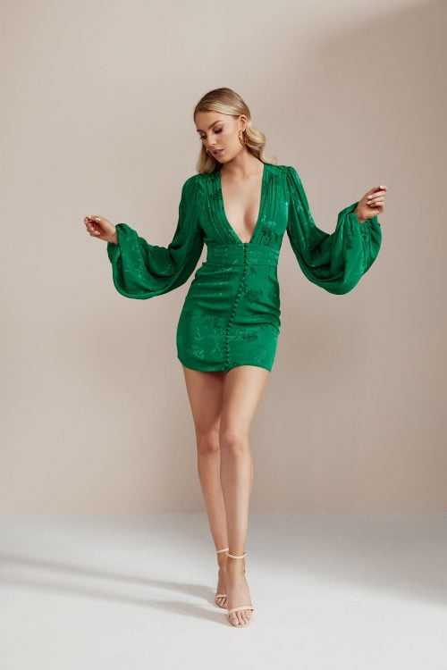 Rat & Boa Isabella Dress Long-Sleeve, Mini, V-Neck Emerald