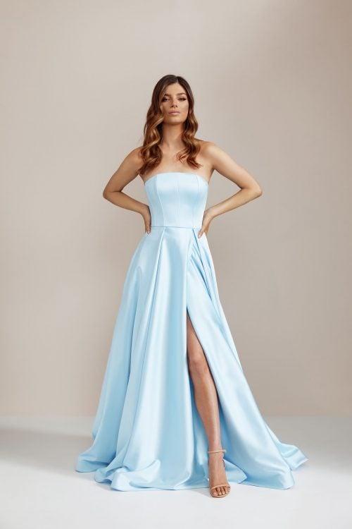 D'Lelle Nicolette Gown Floor Length, Maxi, Strapless Blue