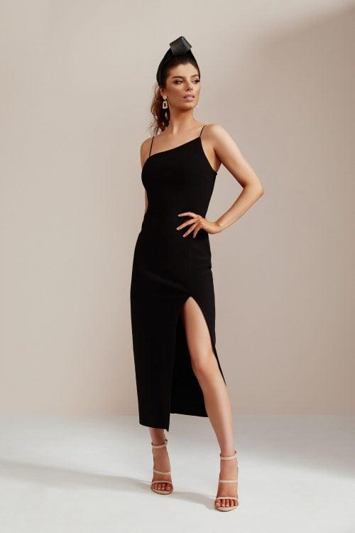 Bec & Bridge Dominique Asym Dress Knee Length, Midi Black