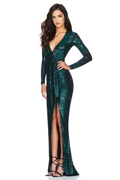 Nookie Selena Long Sleeve Gown Floor Length, Long-Sleeve, V-Neck Teal