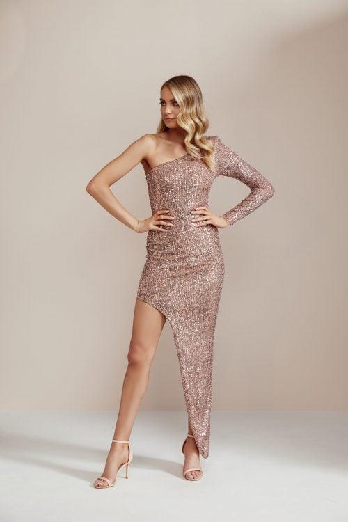 Nookie Fortune One Shoulder Gown Floor Length, Long-Sleeve, Maxi, Off-Shoulder Rose Gold