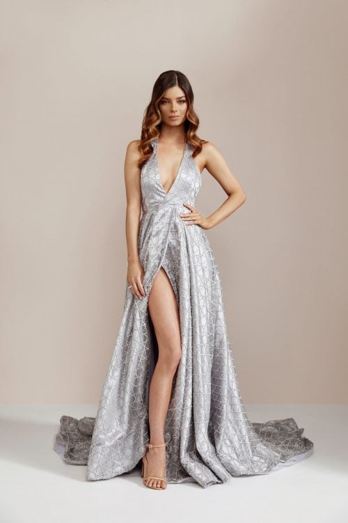 D'Lelle Gabrielle Gown Backless, Floor Length, Maxi Silver