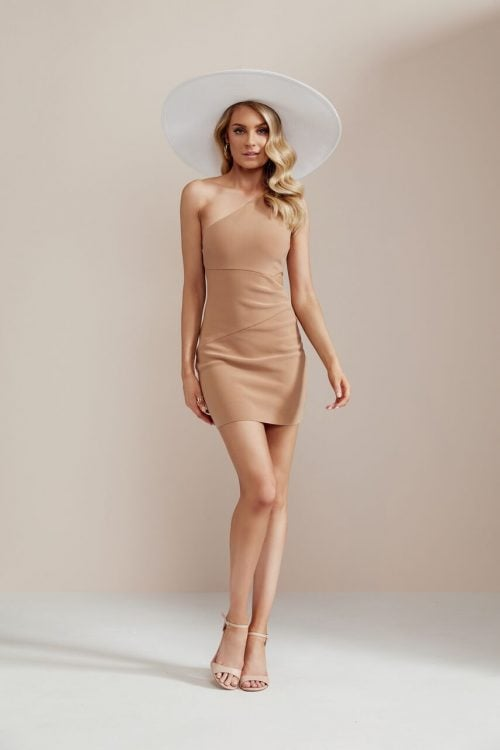 Bec & Bridge Elke Mini Dress Mini, Off-Shoulder Camel