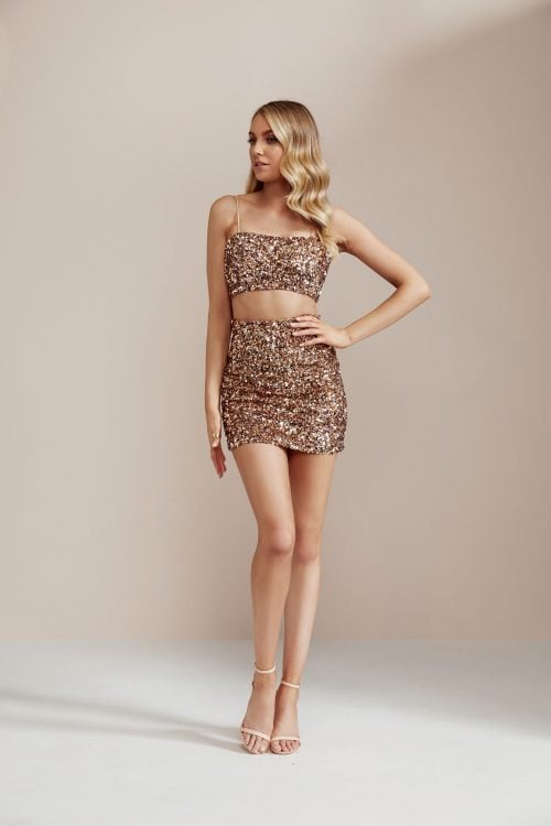 Nookie Confetti Crop And Skirt Two-piece Set Gold