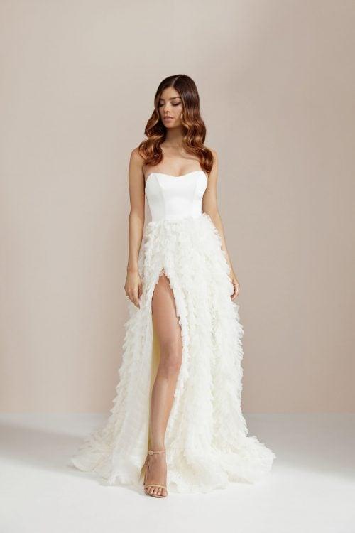 D'Lelle Lilliana Gown Floor Length, Maxi, Strapless Ivory