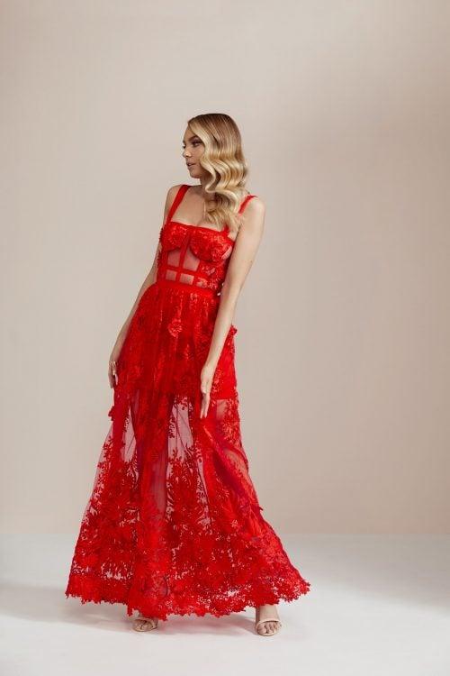 Nicola Finetti Marisol Dress Floor Length, Maxi Red