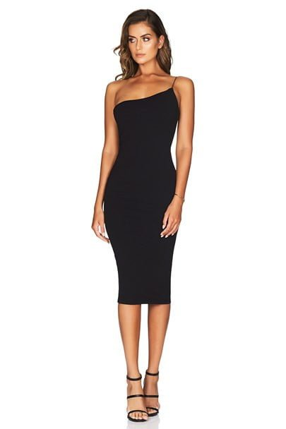 Nookie Penelope Midi Knee Length, Midi, Off-Shoulder Black