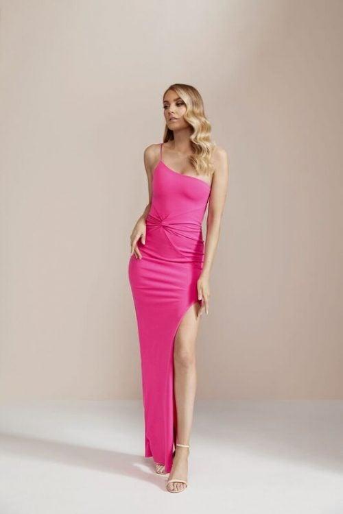 Nookie Lust One Shoulder Gown Floor Length, Maxi, Off-Shoulder Pink