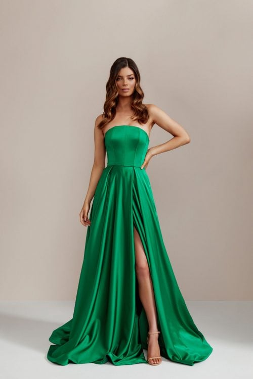 D'Lelle Nicolette Gown Floor Length, Strapless Emerald