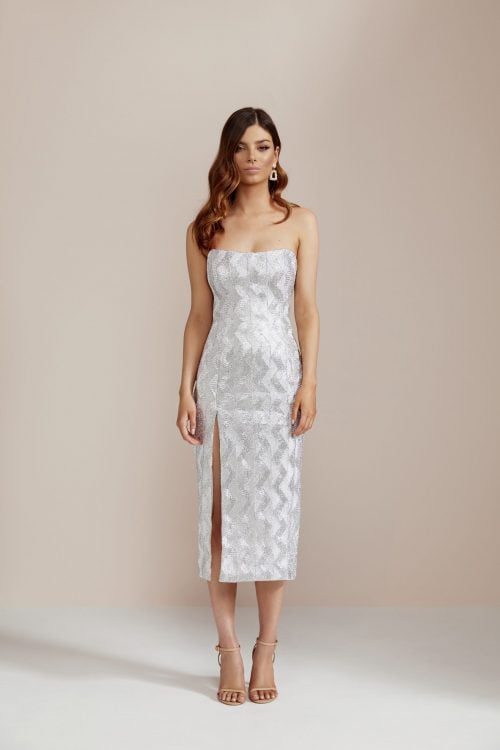 Manning Cartell No Filter Strapless Dress Knee Length, Midi, Strapless Silver