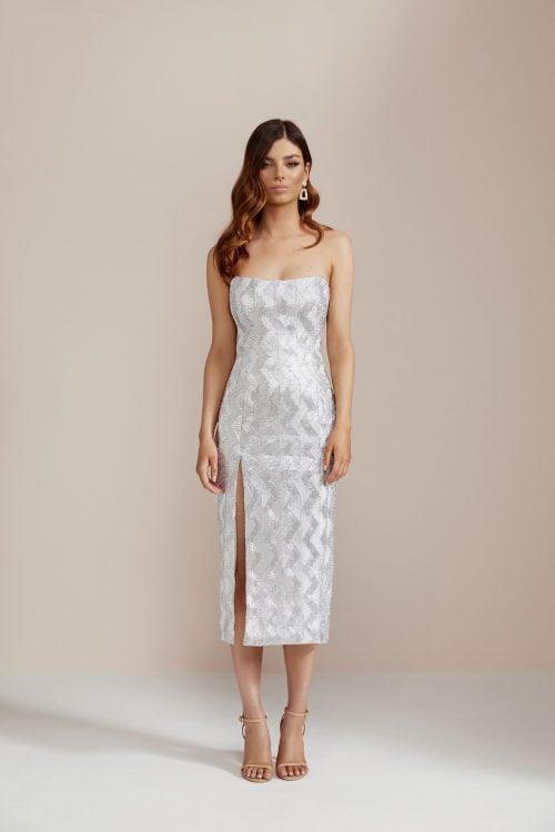 Manning Cartell No Filter Strapless Dress Knee Length, Midi, Strapless Silver