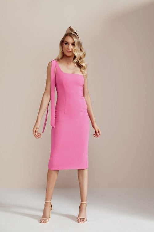 By Johnny Tie Shoulder Midi Dress Knee Length, Midi, Off-Shoulder Pink