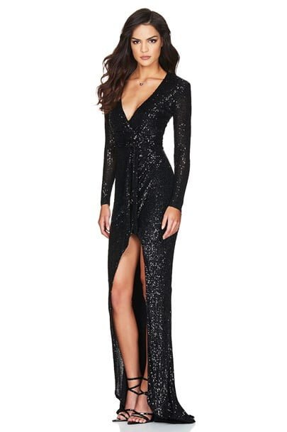Nookie Selena Long Sleeve Gown Floor Length, Long-Sleeve, V-Neck Black