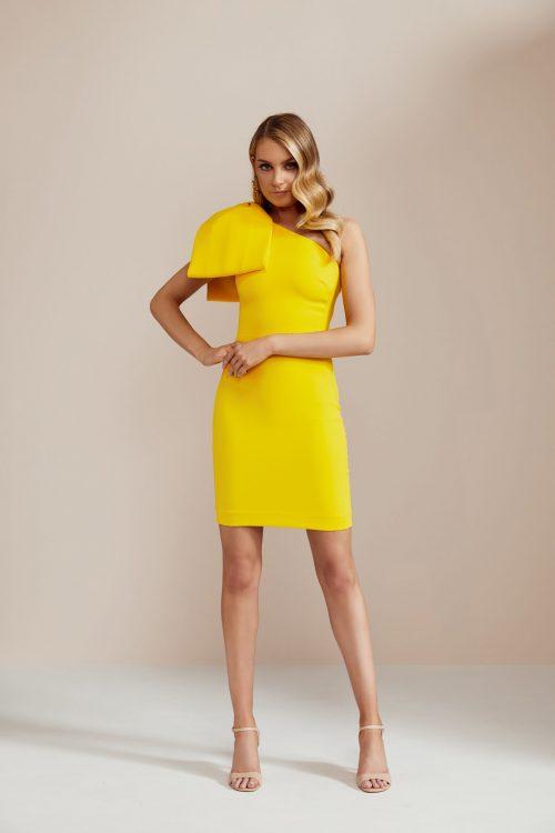Rebecca Vallance Bow Shoulder Mini Mini, Off-Shoulder Yellow