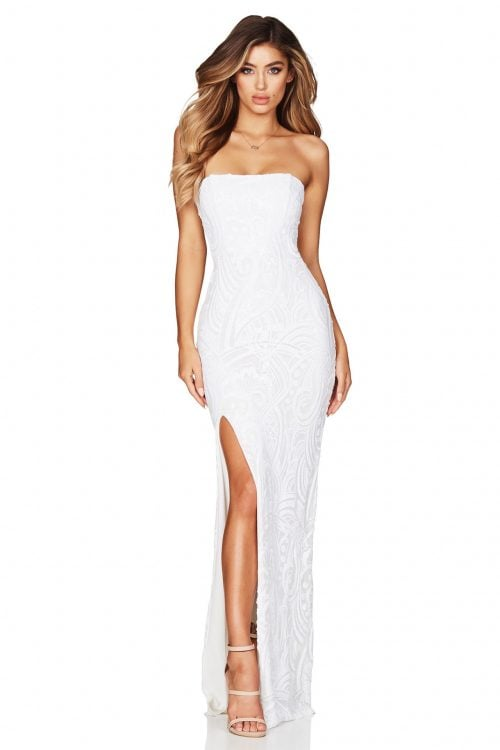 Nookie Sensation Gown Floor Length, Strapless White