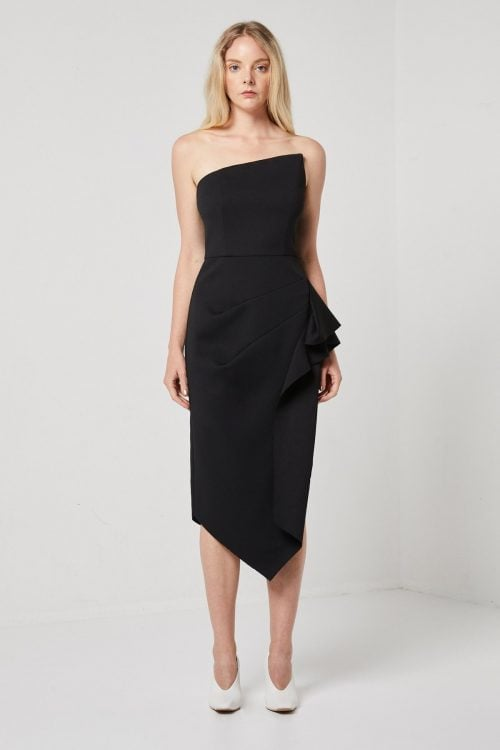 Elliatt Landscape Dress Knee Length, Midi Black