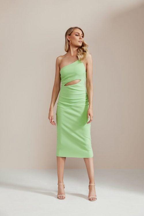 Bec & Bridge Missy Asym Dress Midi, Off-Shoulder Green