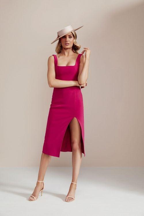 Bec & Bridge Hibiscus Island Midi Dress Knee Length, Midi Dark Pink