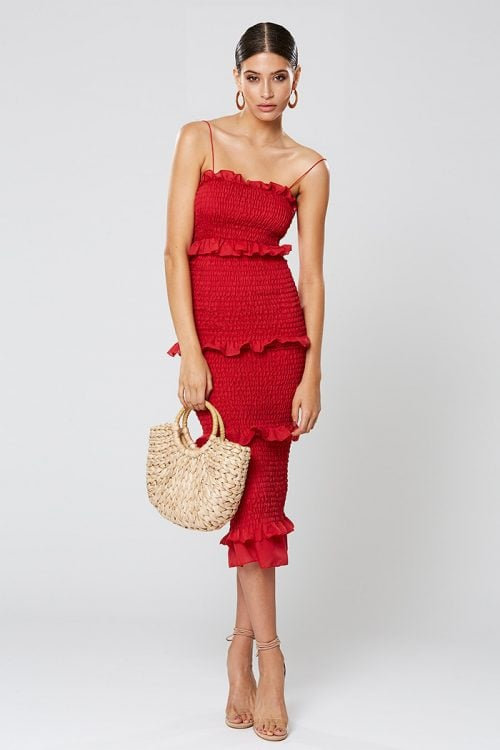 Winona Xia Dress Knee Length, Midi Red