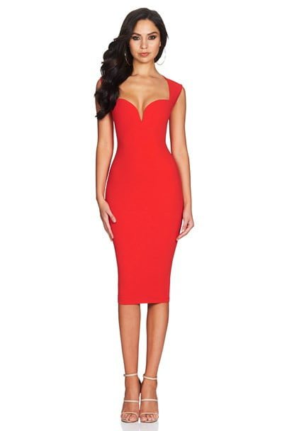 Nookie Madonna Midi Knee Length, Midi Red