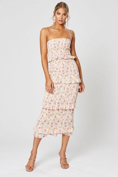 Winona Florence Shirring Midi Dress Knee Length, Midi Print
