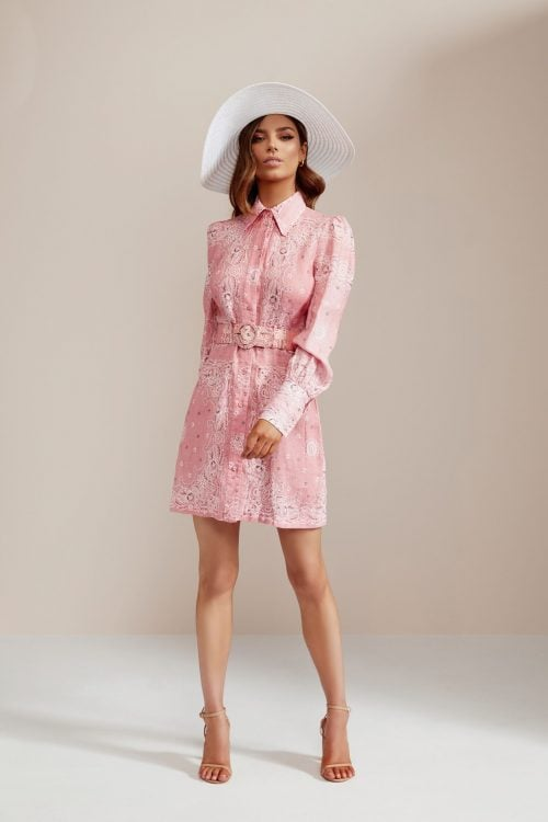 Zimmermann Heathers Bandana Shirt Dress Long-Sleeve, Mini Pink
