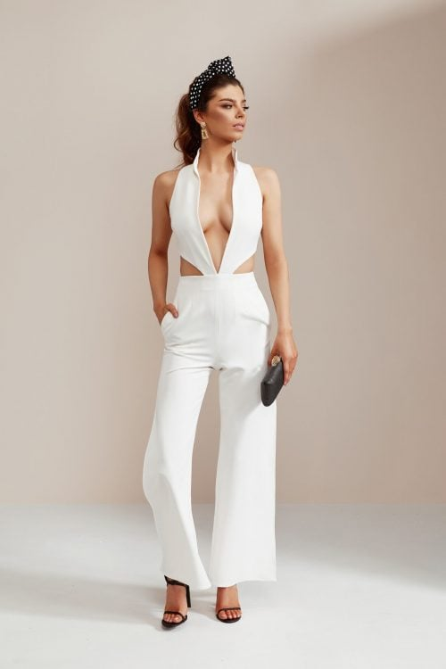 Stephanie Chehade Thunder Jumpsuit Backless, Jumpsuit, V-Neck Ivory