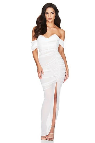 Nookie Dita Mesh Gown Floor Length, Maxi, Off-Shoulder, Strapless White