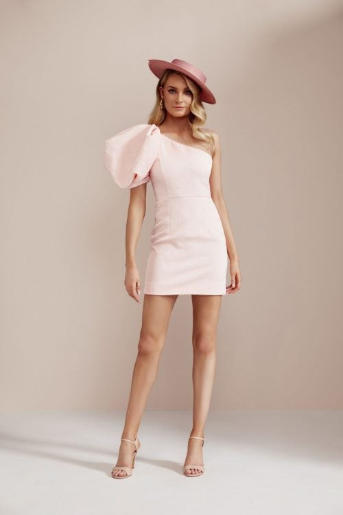 Nicola Finetti One Sleeve Mini Mini, Off-Shoulder Pink