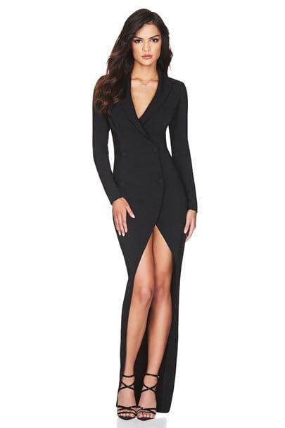 Nookie Bella Blazer Dress Floor Length, Long-Sleeve, Maxi, Mini Black