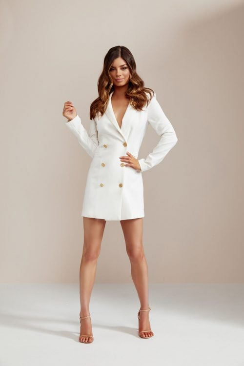 Nookie Milano Blazer Dress Long-Sleeve, Mini, V-Neck Ivory