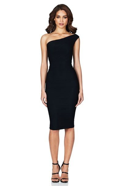 Nookie Inspire One Shoulder Midi Knee Length, Midi, Off-Shoulder Black