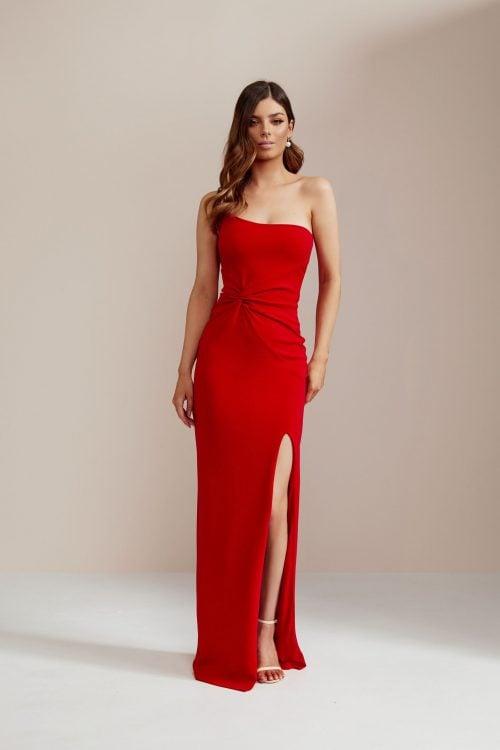Nookie Lust One Shoulder Gown Floor Length, Maxi, Off-Shoulder Red