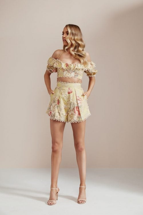 Zimmermann Melody Crop & Shorts Two-piece Set Print