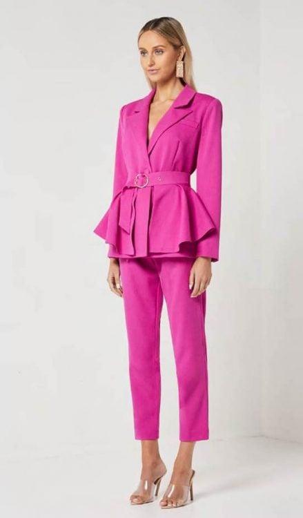 Elliatt Aurora Blazer + Pants + Belt Two-piece Set Pink