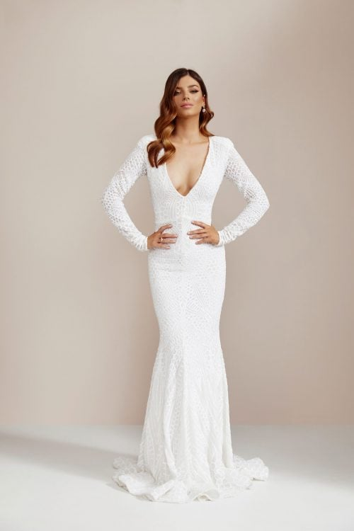 Ae'lkemi Stardust Sequin Gown Floor Length, Long-Sleeve, Maxi, V-Neck Ivory