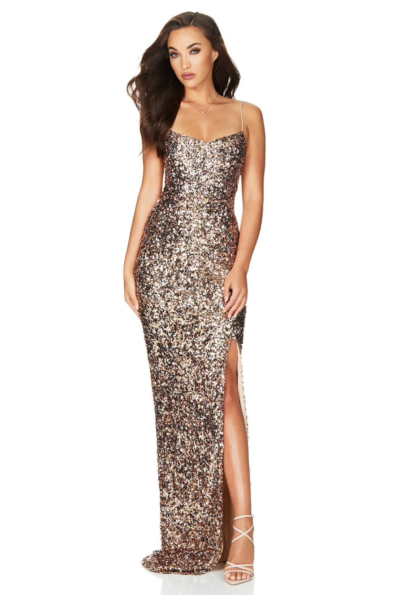 Nookie Confetti Gown Floor Length, Maxi Gold